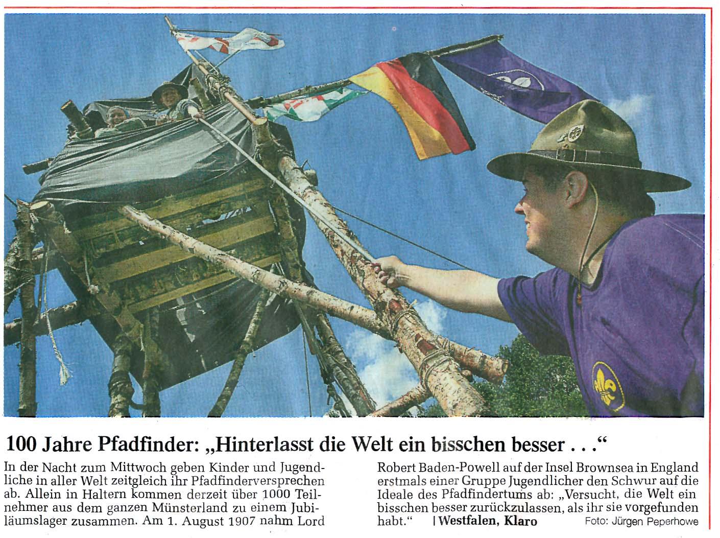 Zeitungsartikel 100 Jahre Pfadfinder, WN 31.7.2007