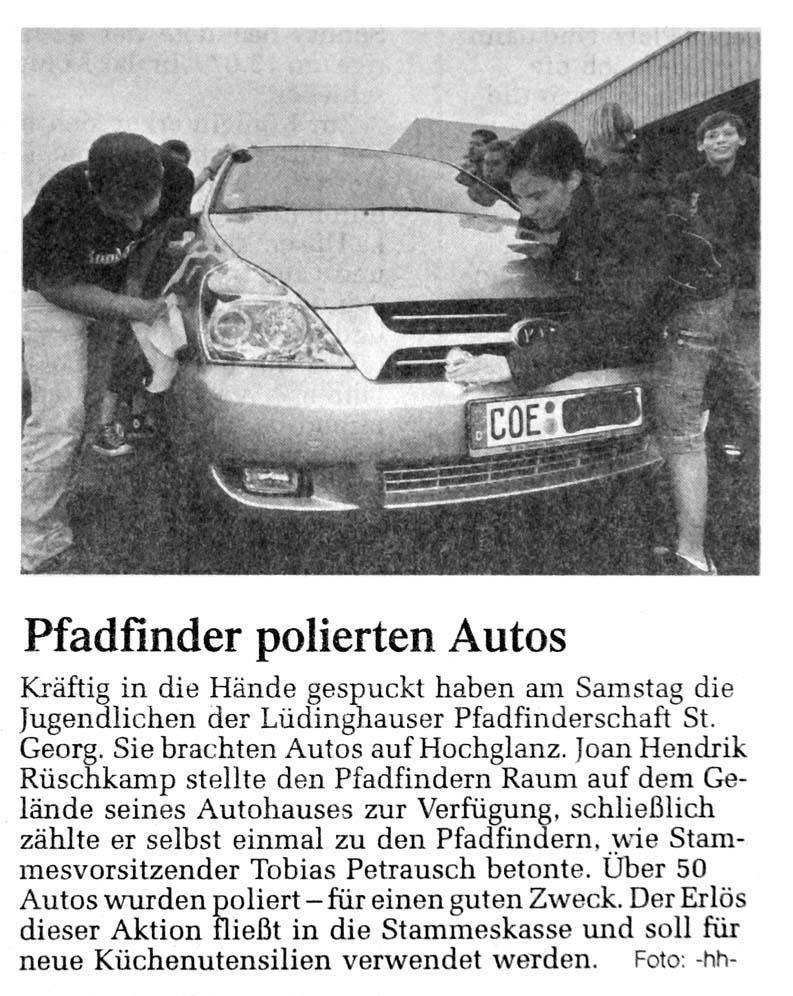 Zeitungsartikel über die Autowaschaktion, WN 30.5.2007