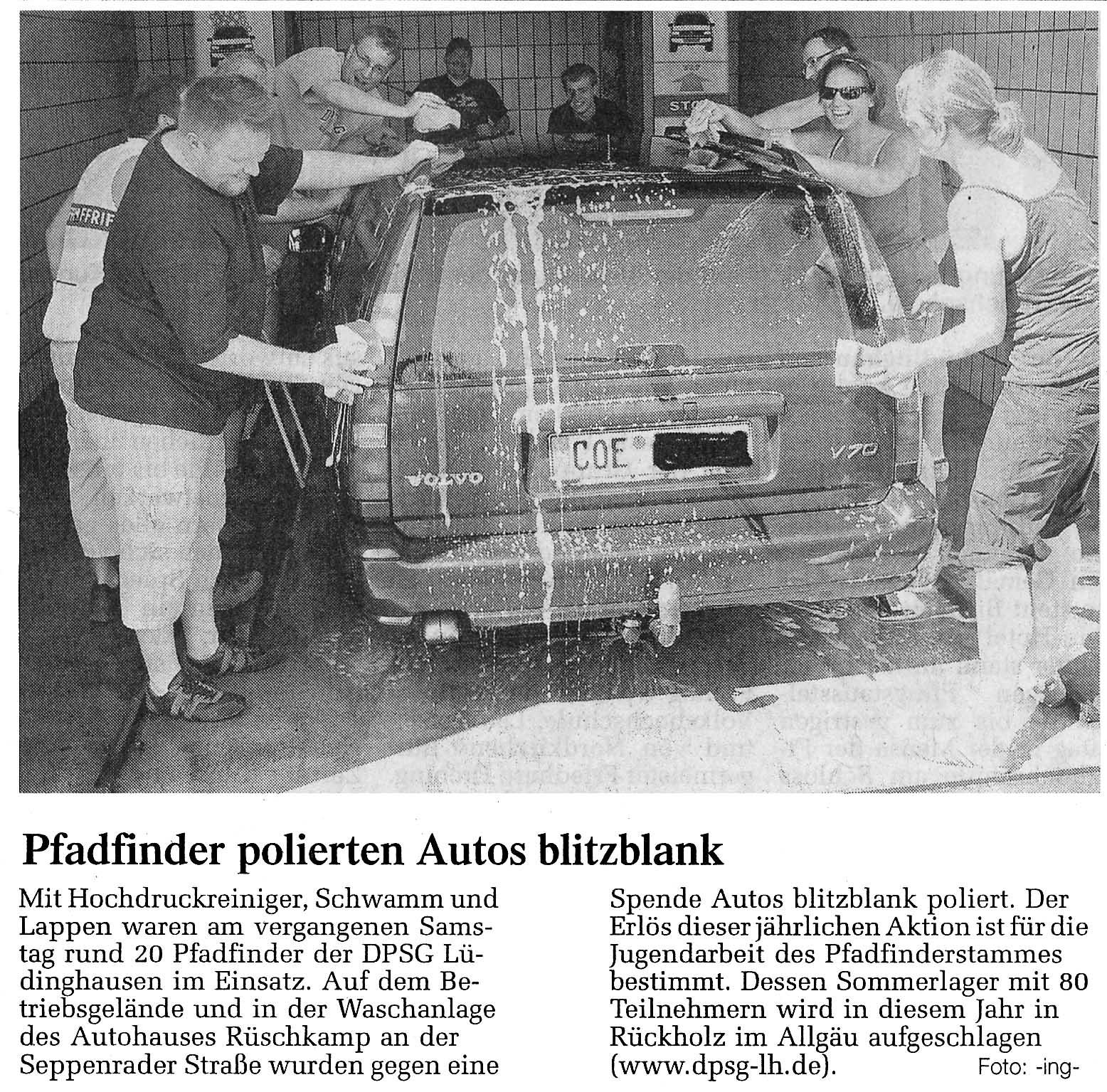 Pfadfinder polierten Auto blitzblank