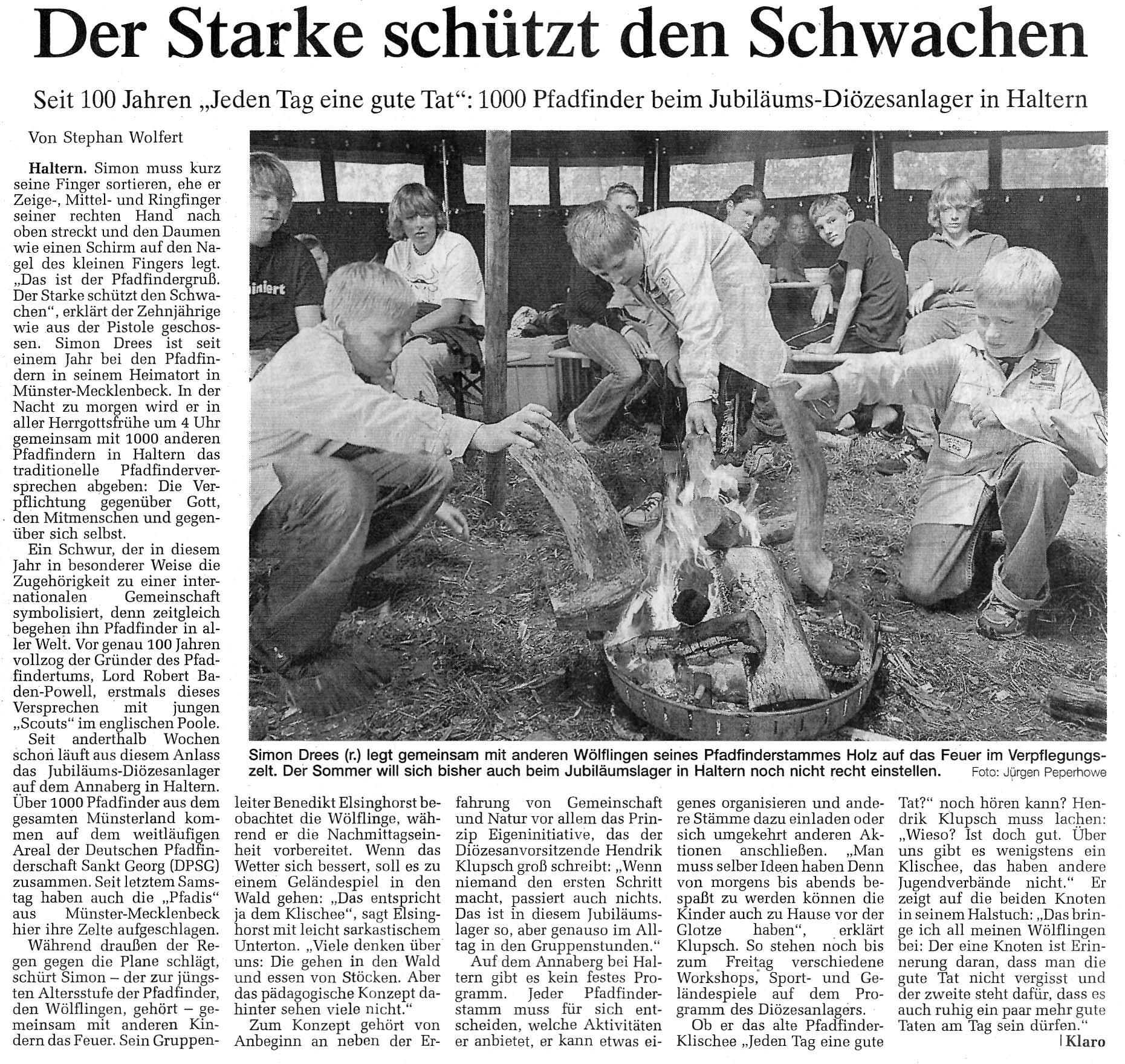 Zeitungsartikel Der Starke schützt den Schwachen, WN 31.7.2007