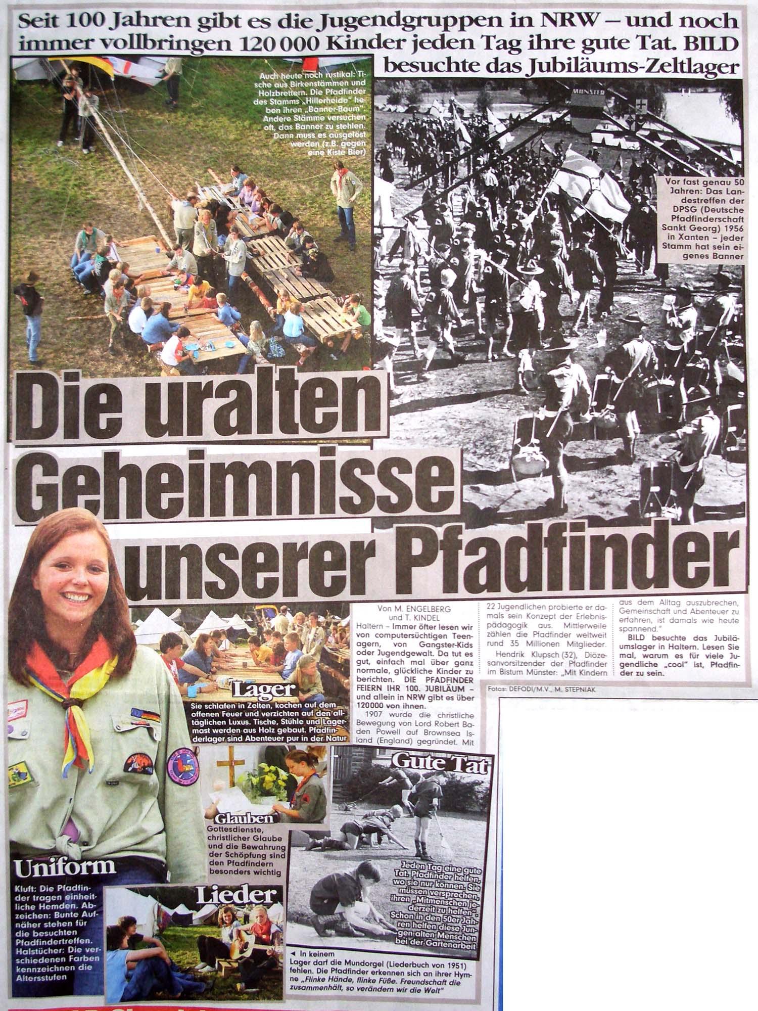Zeitungsartikel Die uralten Geheimnisse unserer Pfadfinder, Bild 30.7.2007