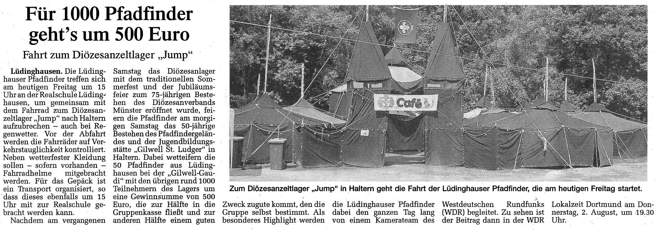Zeitungsartikel Für Pfadfinder geht's um 500 Euro, WN 27.7.2007