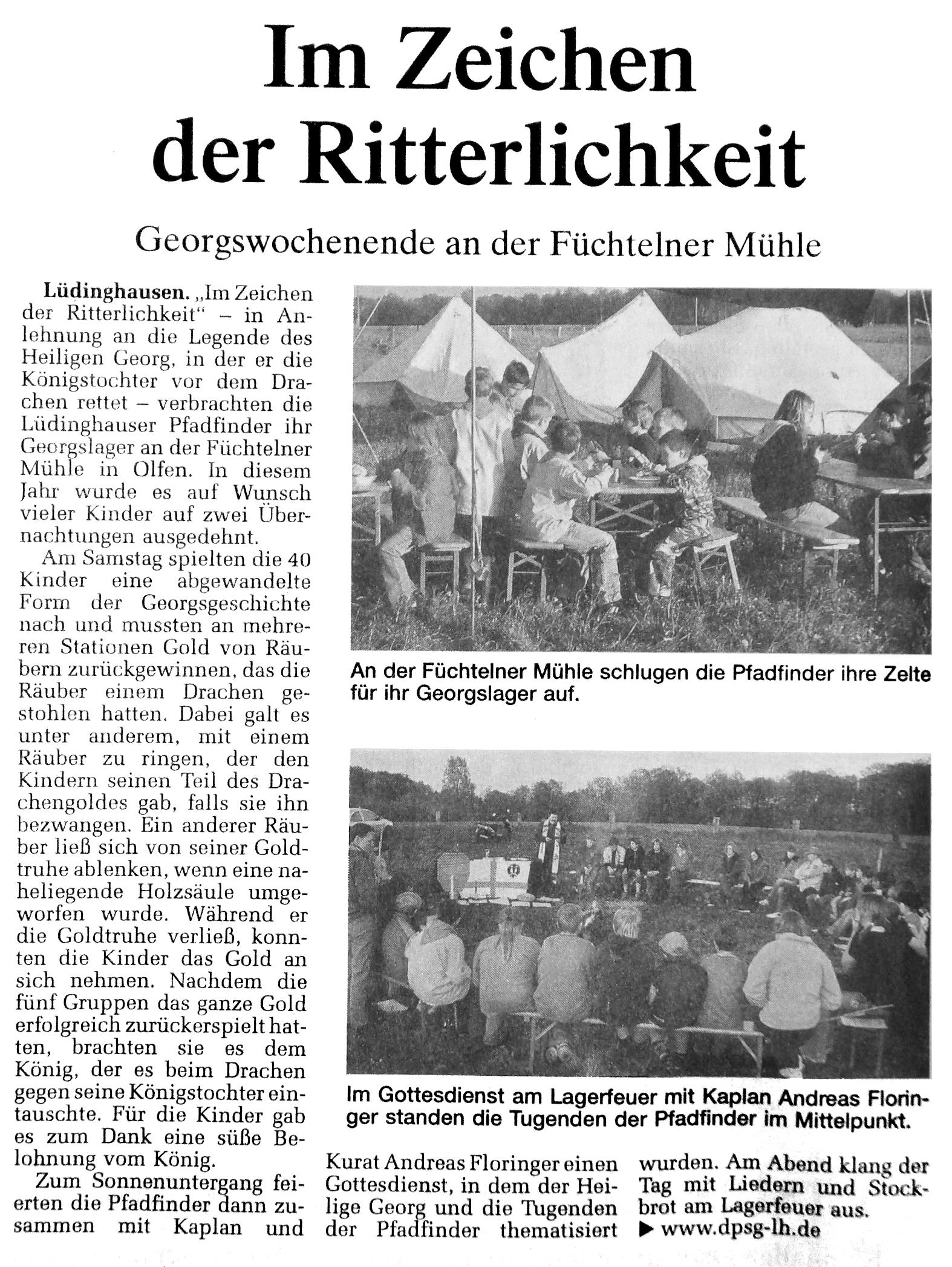 Zeitungsartikel über das Georgslager, WN 1.5.2007