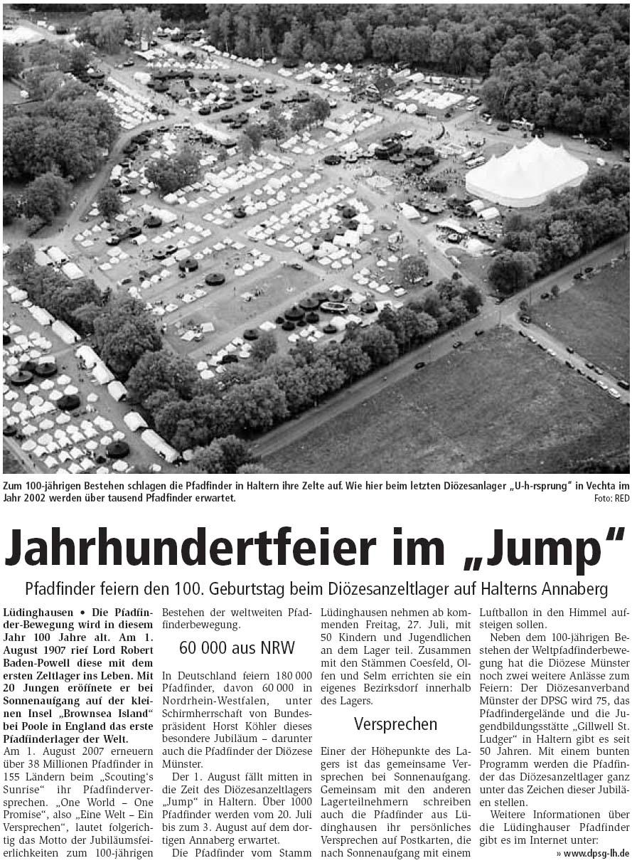 Zeitungsartikel Jahrhundertfeier im Jump, KreisKurier 25.7.2007
