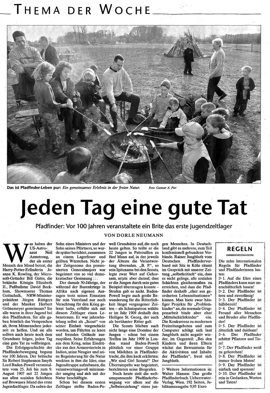 Zeitungsartikel Jeden Tag eine gute Tat, WN 21.7.2007