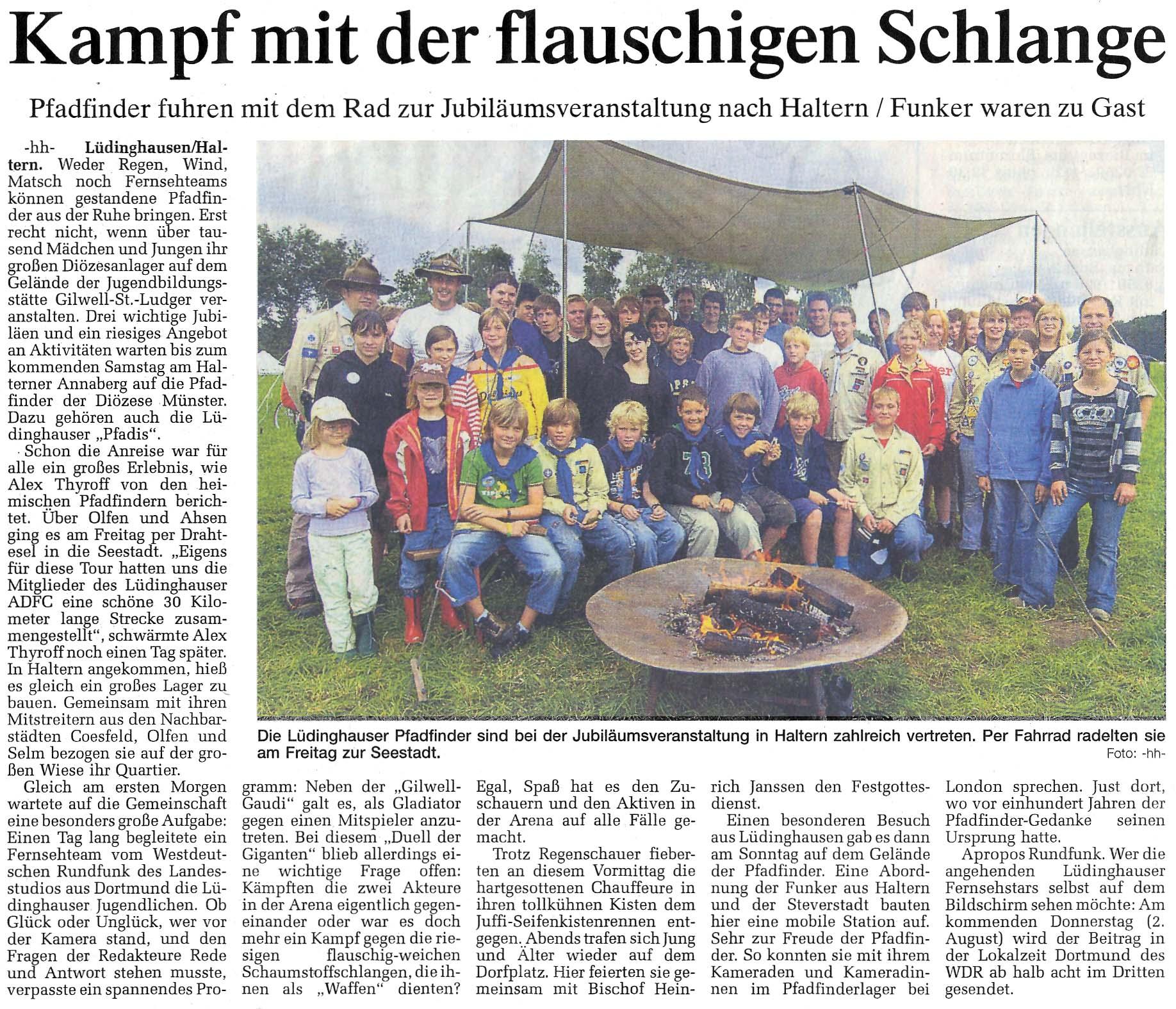 Zeitungsartikel Kampf mit der flauschigen Schlange, WN 30.7.2007