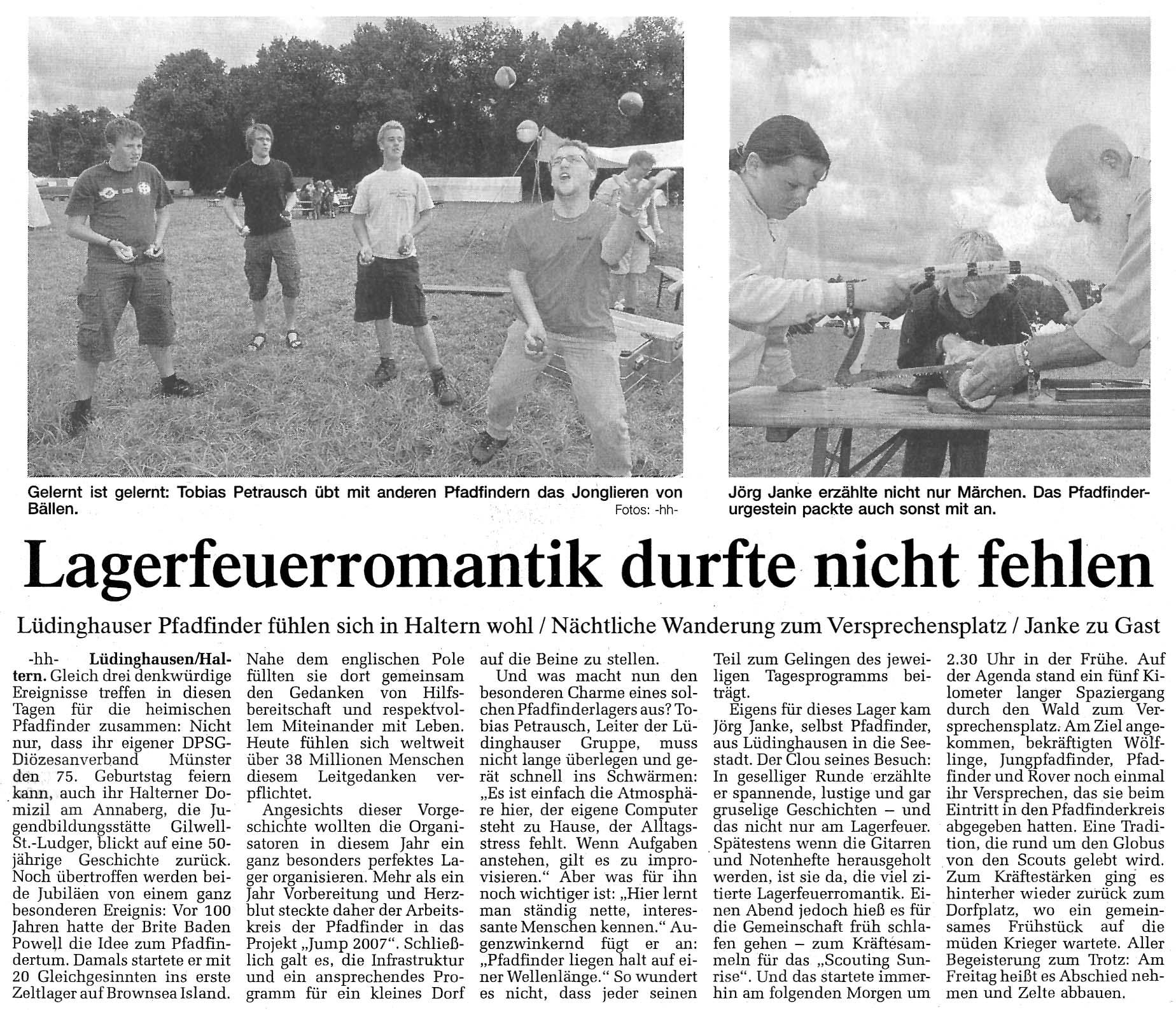 Zeitungsartikel Lagerfeuerromantik durfte nicht fehlen, WN 2.8.2007