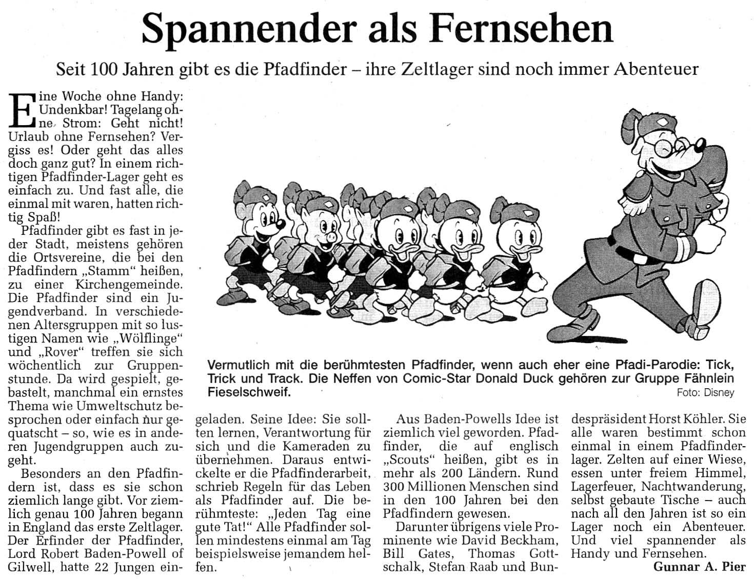 Zeitungsartikel Spannender als Fernsehen, WN 31.7.2007