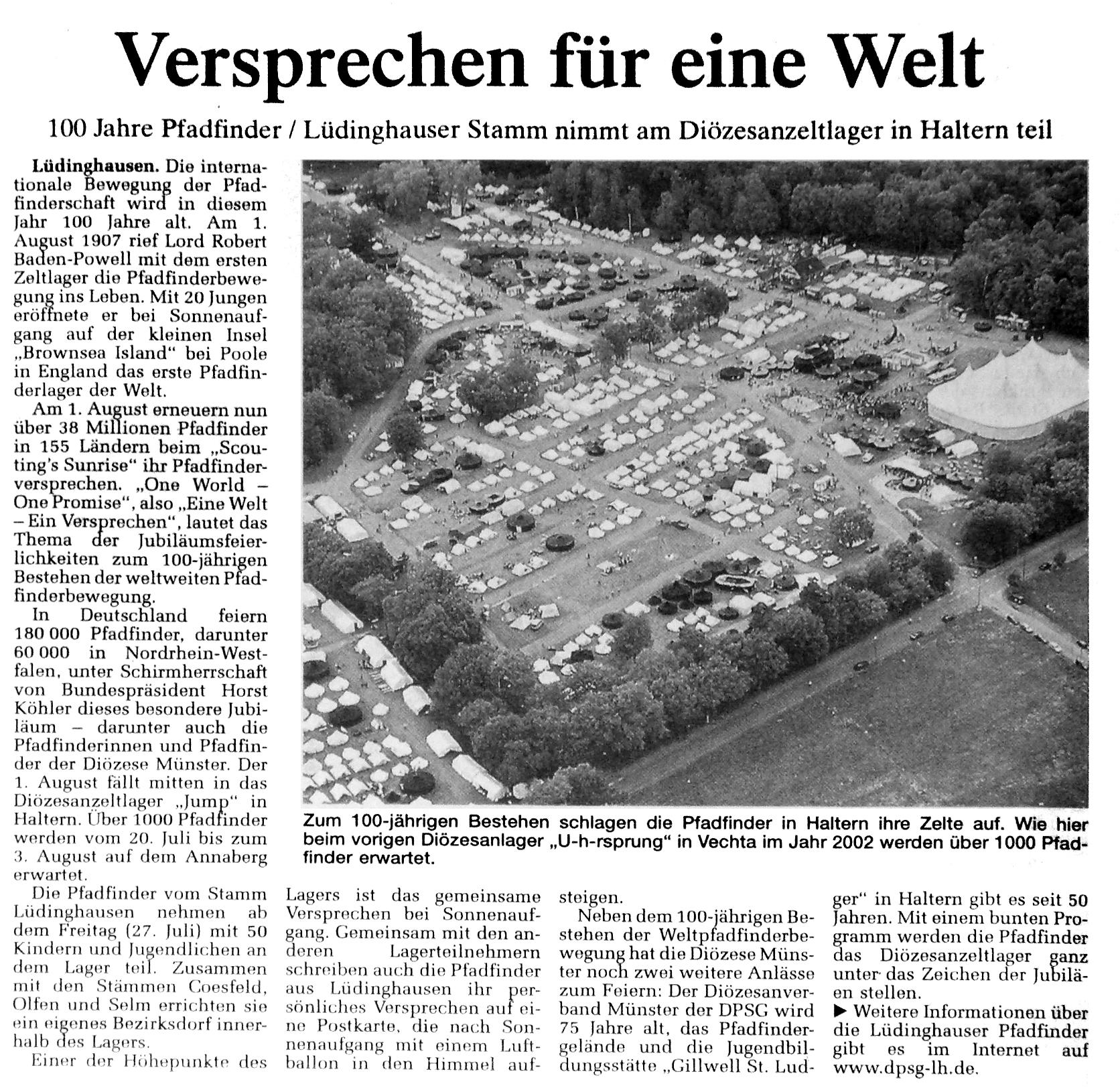 Zeitungsartikel Versprechen für eine Welt, WN 21.7.2007